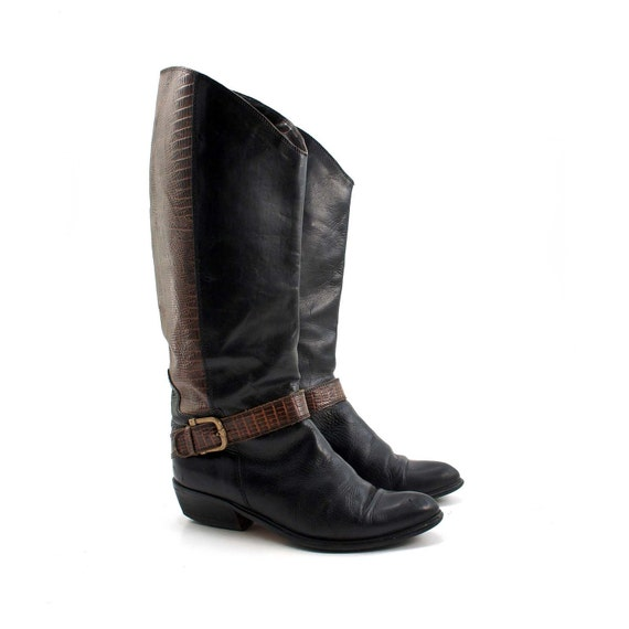 RESERVED for Naomi // Fashion Boots with Harness by Bandolino / Asymmetrical Scallop with Crocodile Texture / Black and Brown Leather size 6