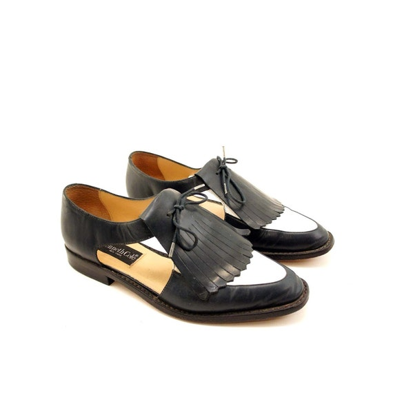 Kenneth Cole Preppy Kiltie Loafers with Cut Out Sides in Navy and White / FREE SHIPPING to US and Canada