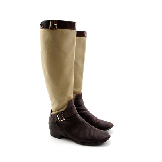 RESERVED for MARISSA // Riding Boots for the BoHo Equestrian in Tan and Brown with Strap and Buckles by CAPEZIO for Women's size 6 1/2