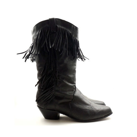 RESERVED for Amanda /// Black Fringe Boots in Southwestern Cowboy Styling by DINGO for Women's size 8
