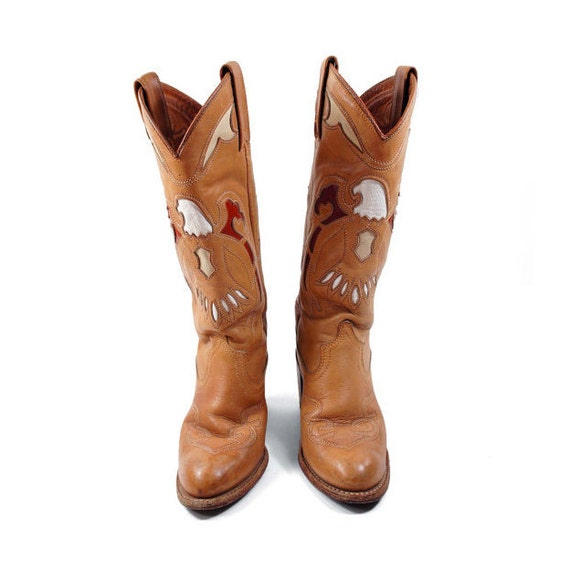 Women's Cowboy Boots by Vintage MISS CAPEZIO / Flying Eagle Inlay with Sandy Brown Leather with White, Cream, and Maroon for Women's size 5