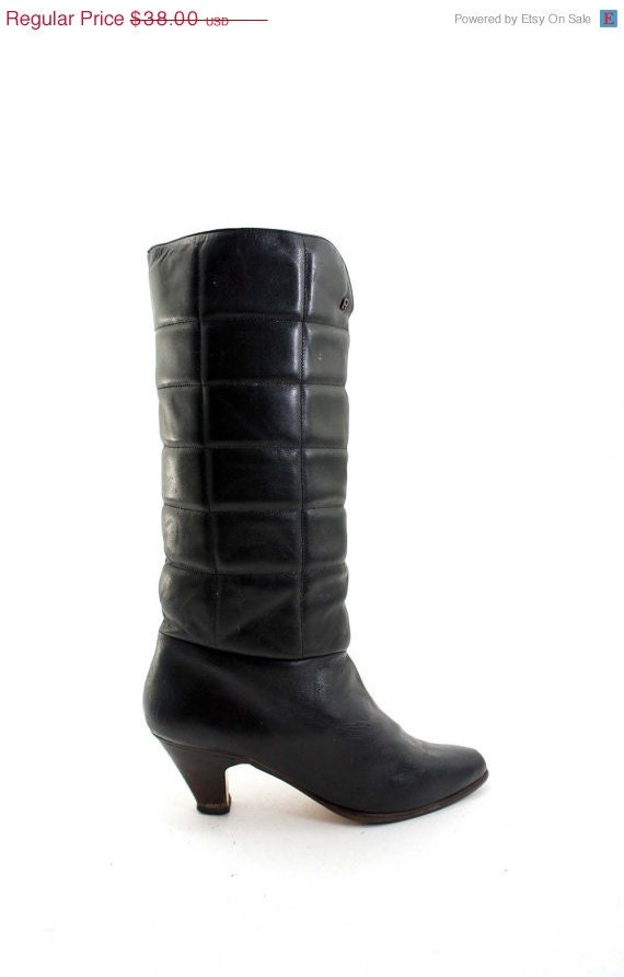 sale black leather boots by etienne aigner 80s fashion boots