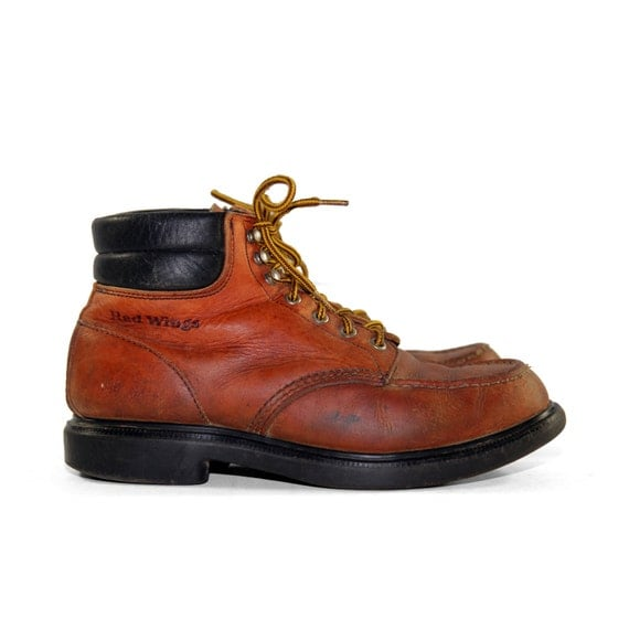 Vintage Red Wing Boots in Burnt Orange Leather with Moc Toes for a Men's Size 9