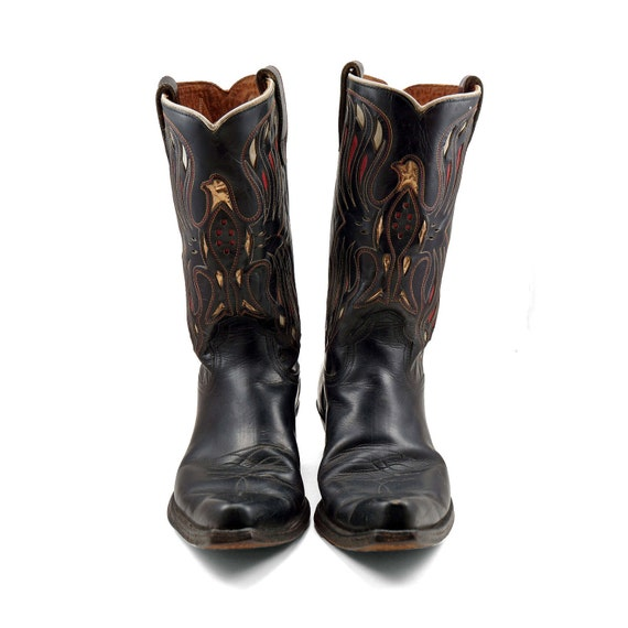 Vintage Acme Inlay Boots with Golden Thunder Bird Design for a Women's Size 8 1/2 to 9