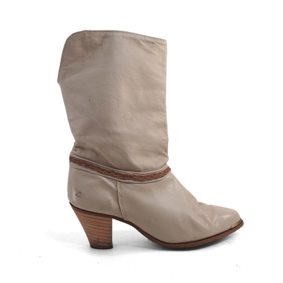 Boots in Bone Color Fashion with Brown Braided Ankle Detail, Stacked Heel, and Optional Cuff for Women's size 6