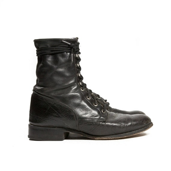 s lace up roper boots black leather ankle boots in