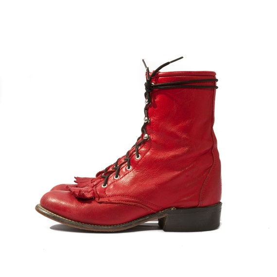 Vintage Lace Up Red Roper Boots by Laredo Kiltie Lacers size 5 1/2