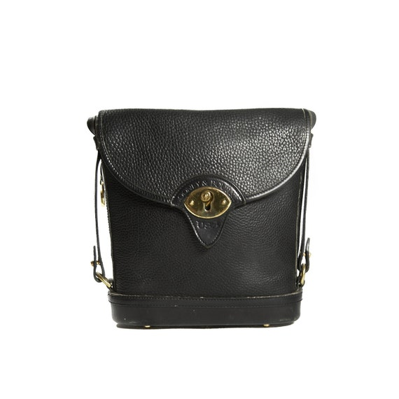 80's Women's Dooney & Bourke Black Pebbled All Weather Leather with Gold Hardware Shoulder Bag with Early 80's DB Fob logo