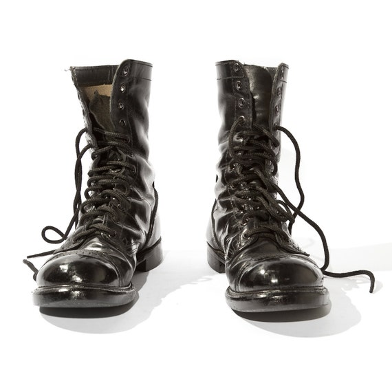 Vintage Double H Combat Boots Polished Leather Women's Size 6 E (Wide) Best Fit For 7