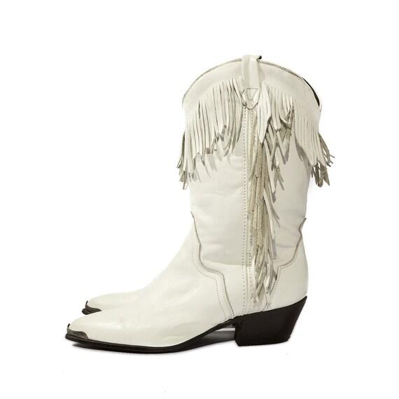 Vintage Acme Fringe Cowboy Boots Bone White Leather Size 7 1/2