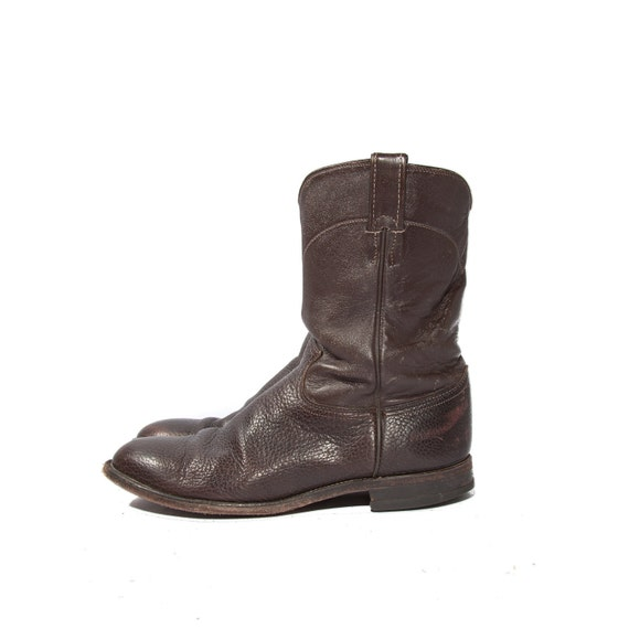 Vintage Justin Roper Boots Pebbled Chocolate Leather in Men's Size 10 1/2 D