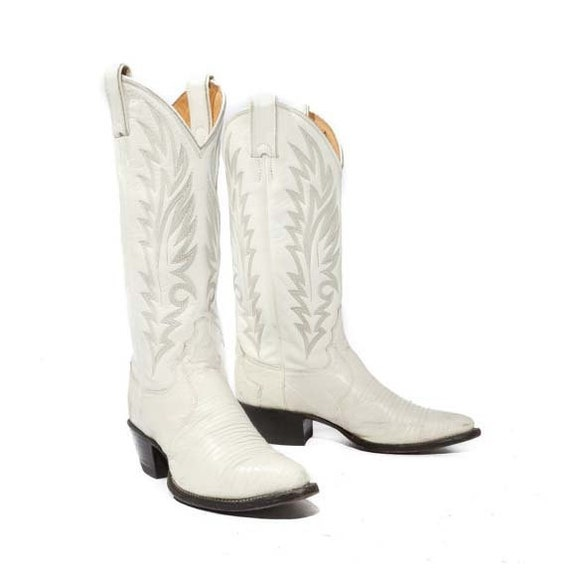 Vintage Women's Cowboy Boots by Justin White Lizard with Feather Stitch Women's Size 5 B
