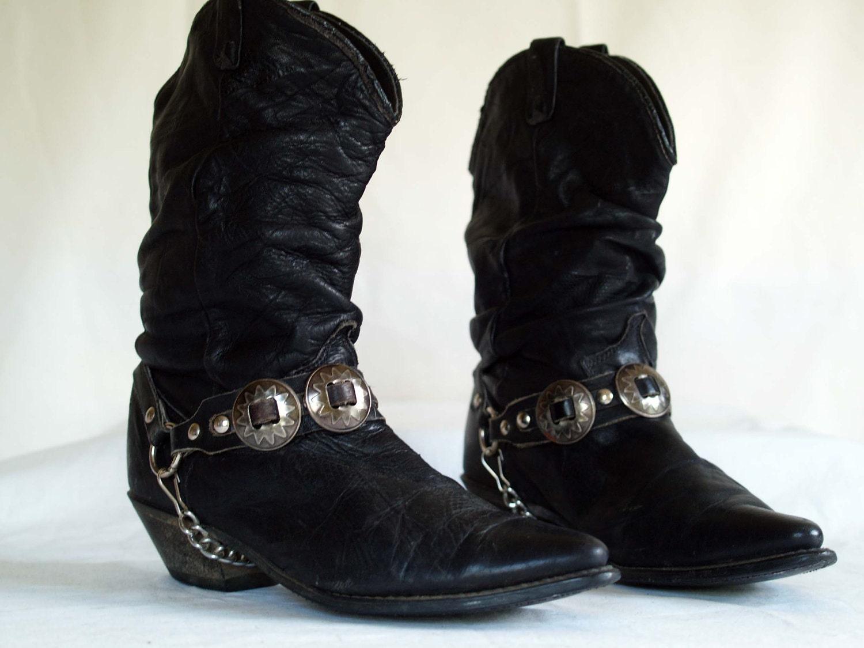 Vintage Dingo Western Fashion Boots Slouch Cowboy Black
