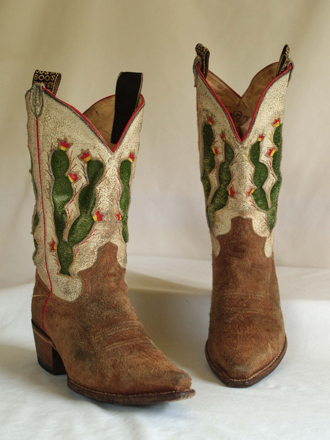 vintage distressed justin suede cactus inlay cowboy boots two