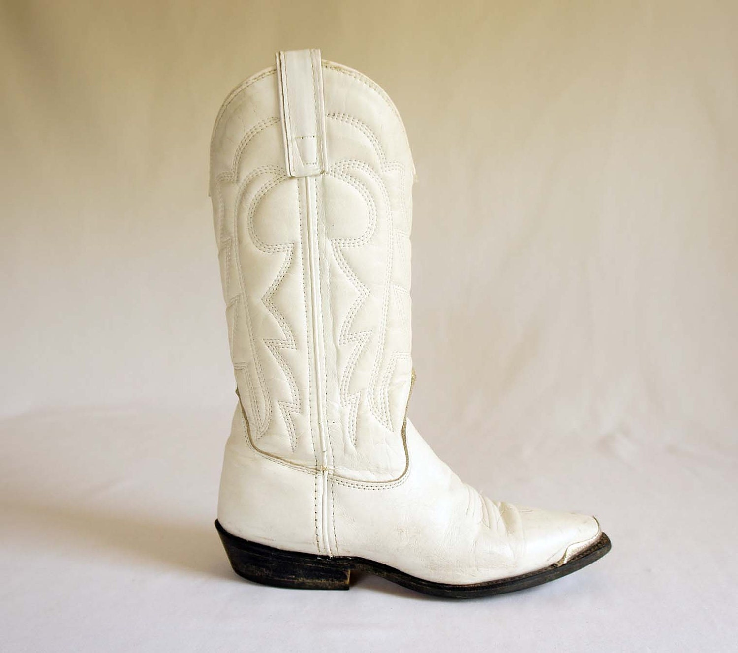 s cowboy boots in white leather by capezio