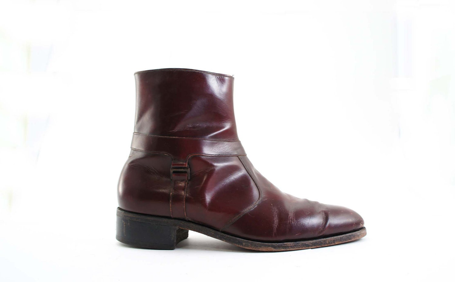 vintage s beatle boots in a burgundy leather in an