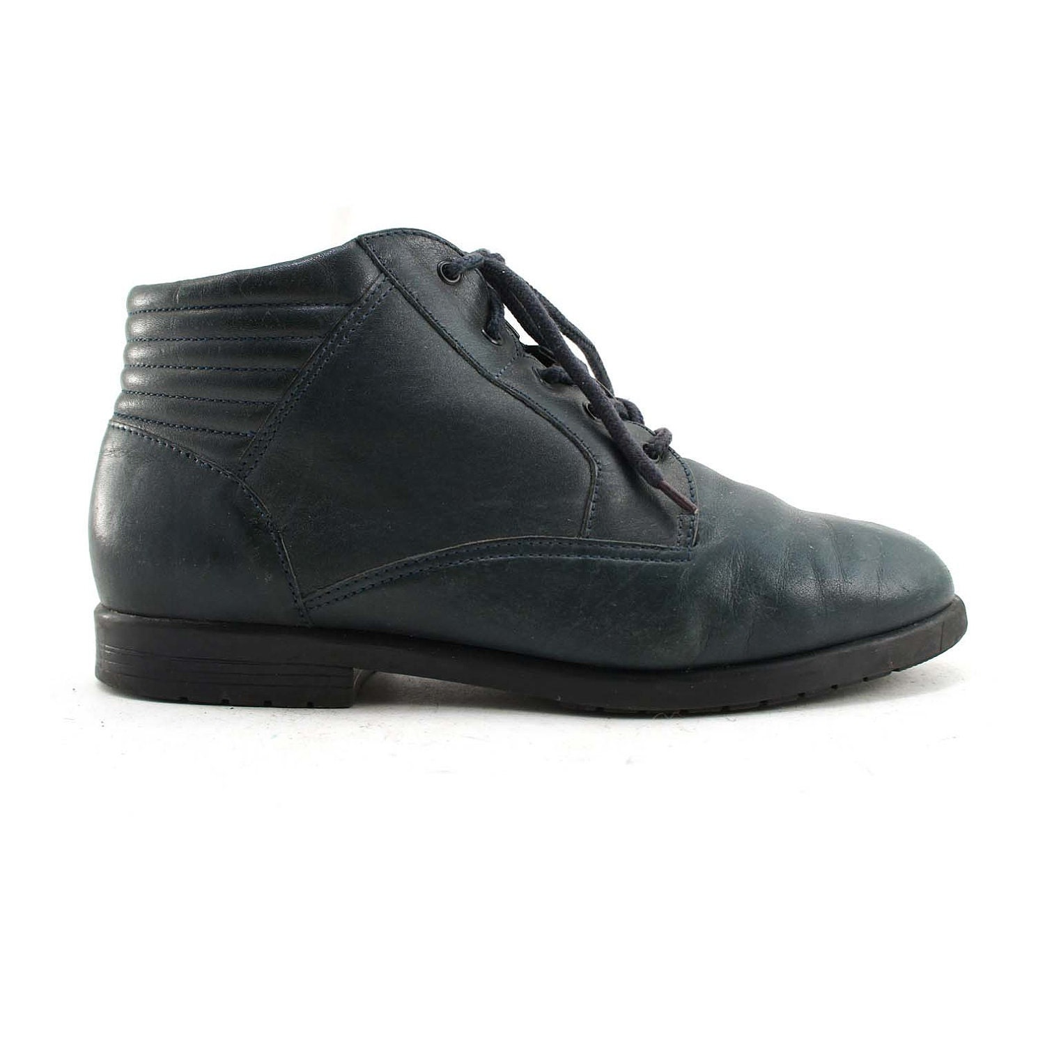 lace up navy blue ankle boots with padded by