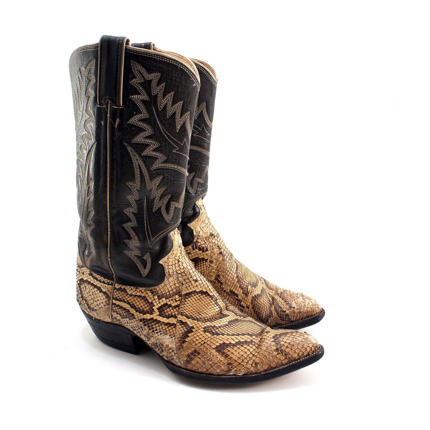 Distressed Snakeskin Vintage Cowboy Boots By Justin For