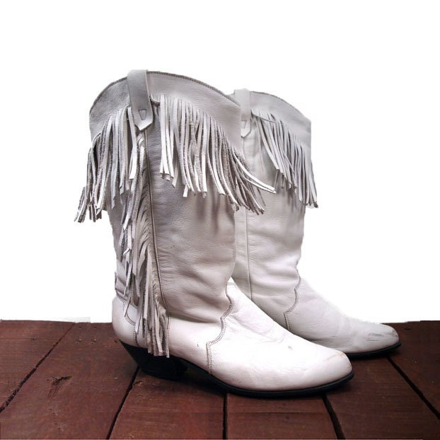 Women's Fringe Boots in White Leather Southwestern Cowgirl