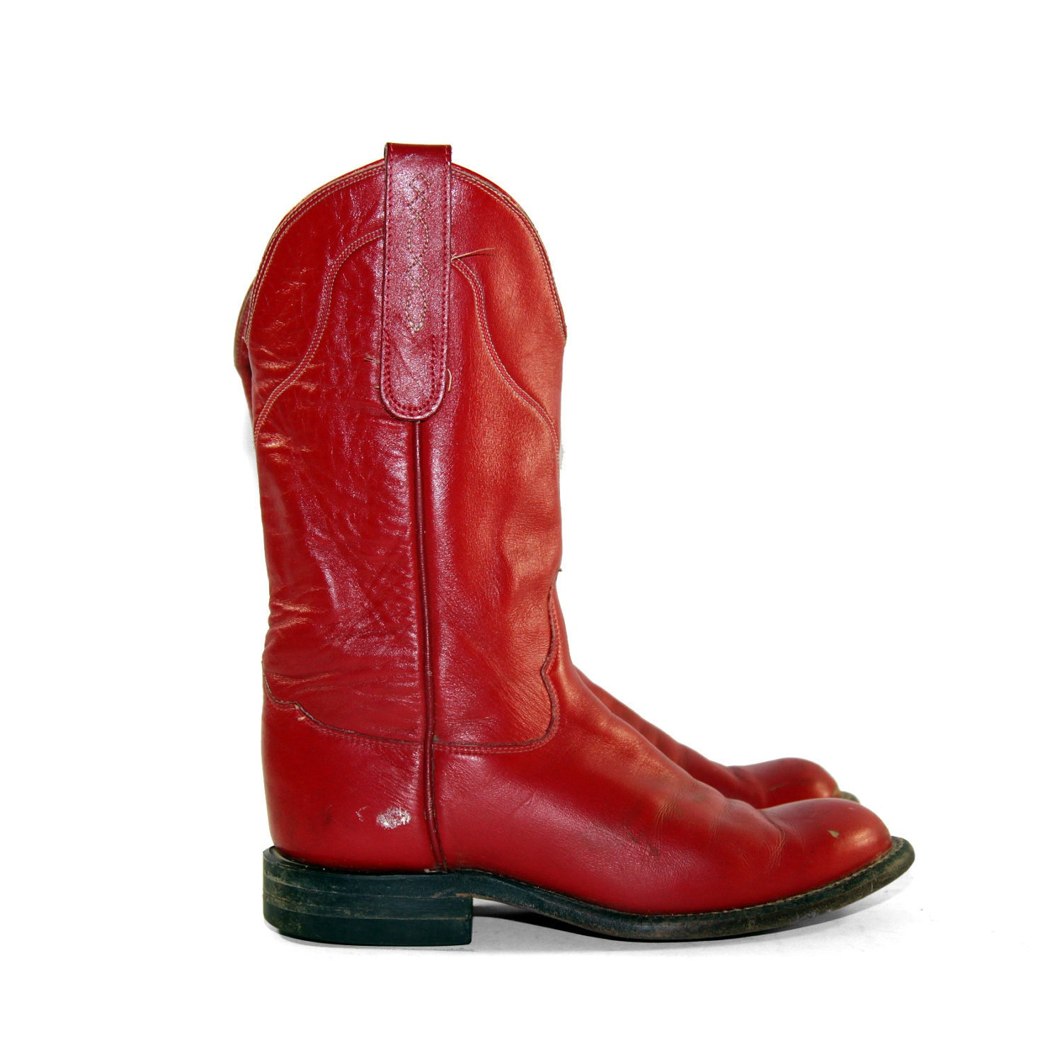 Simple Womenu0026#39;s Cowboy Boots In Red And Black Leather With Inlay
