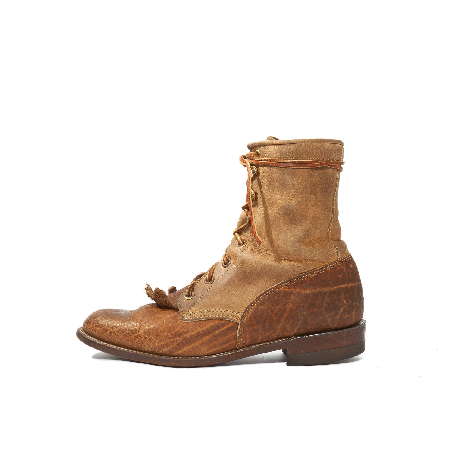 s justin lace up roper boots two tone bullhide for a