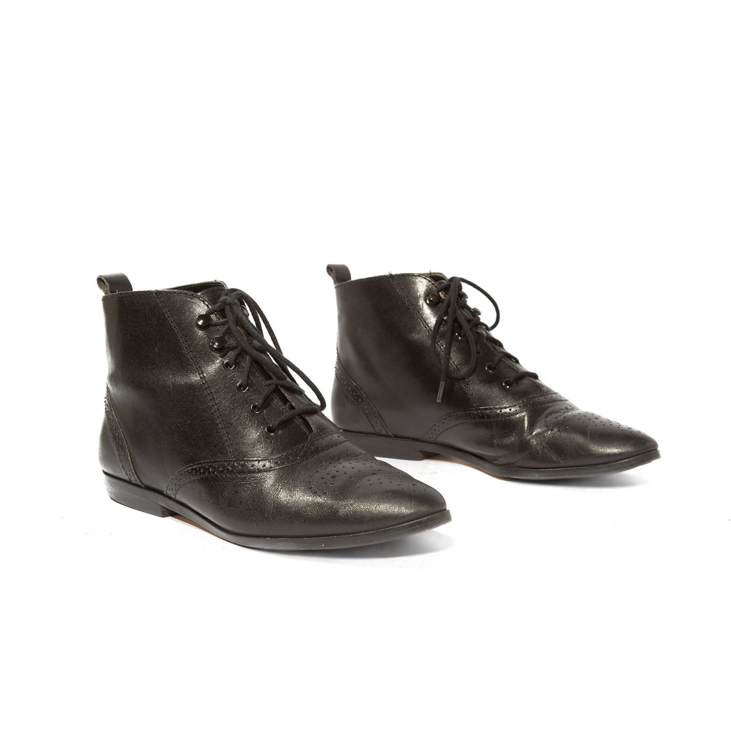 s brogue ankle boots in black leather lace up by