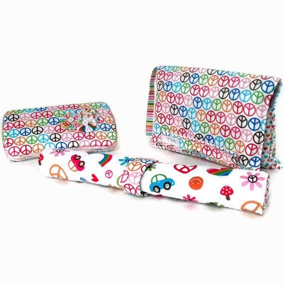Groovy Diaper Clutch Set- Changing Pad, Wipes Case, Diaper Clutch