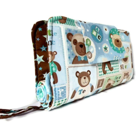 Diaper Clutch With Changing Pad And Wipes Case - Blue Bear Hugs Print Three Piece Set