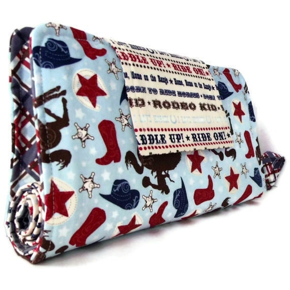 Diaper Clutch With Changing Pad And Wipes Case, Three Piece Set- Wanna Be A CowBoy Print