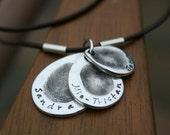 Fingerprint Teardrop Trio Necklace - Leather