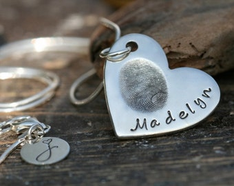 Fingerprint Heart Necklace - Mothers Day gift, gift for new mom, silver fingerprint necklace, personalized fingerprint necklace