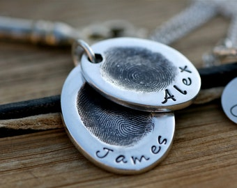Fingerprint Oval Duo Necklace - silver fingerprint necklace, finger print chain, childrens prints