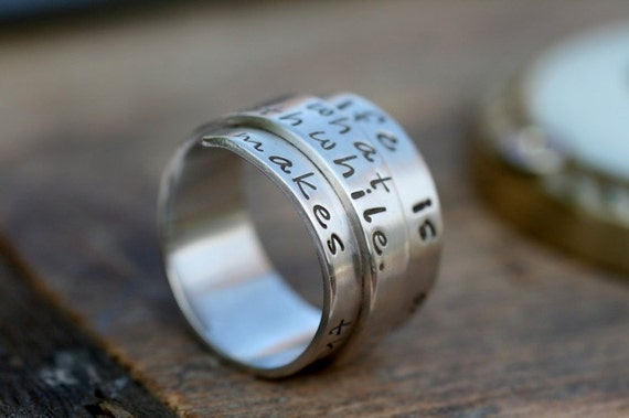 Personalised Secret Scroll Ring - silver ring, secret message ring, scroll, gift for girlfriend, gift for boyfriend, anniversary gift