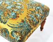 classic ottoman with damask fabric
