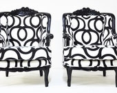 Reserve Listing FOR Gretchen: Black & White Armchairs with Cotton Geometric