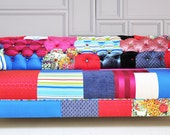 blue & pink chesterfield patchwork sofa