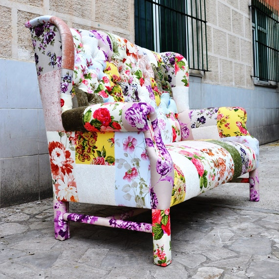 Reserved listing for kimberly floral wing back patchwork sofa for Patchwork couch