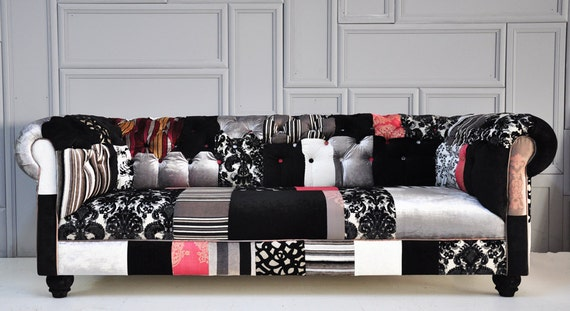 Reserve Listing for Kali: black & white chesterfield patchwork sofa