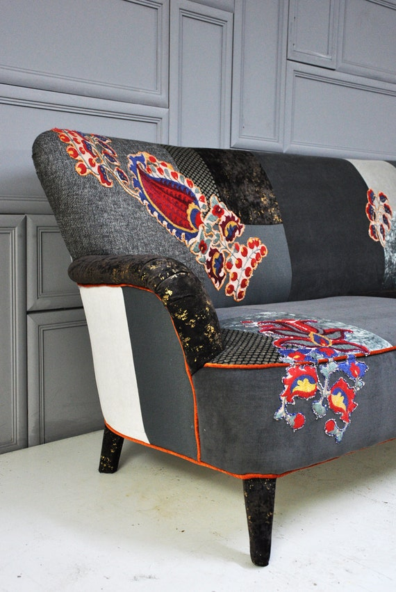 items similar to reserved item for ksenia gray brown patchwork sofa on etsy. Black Bedroom Furniture Sets. Home Design Ideas