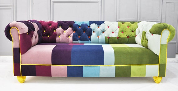 RESERVED listing for JODY: chesterfield patchwork sofa