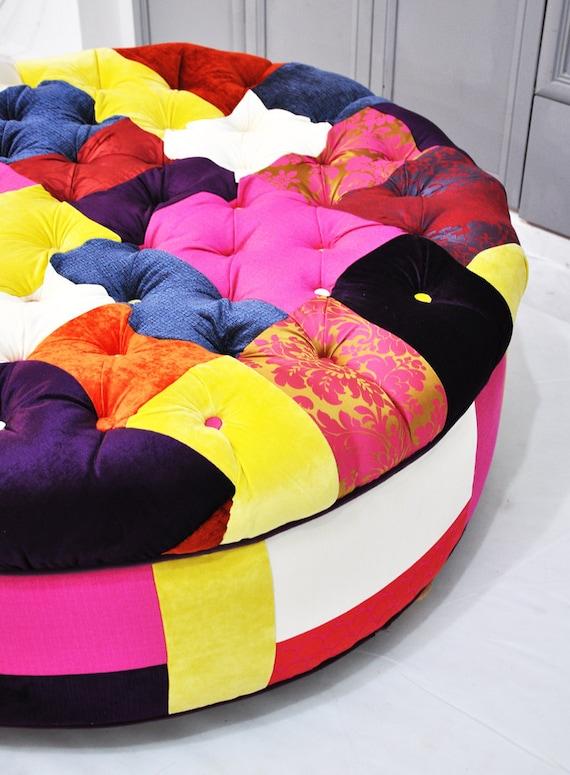 Round patchwork ottoman
