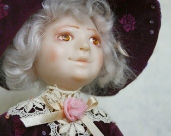 "Art Doll - ""The Girl with a doll"" OOAK. Vintage look. Gentle and romantic gift for doll collector"
