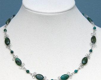 Green Australian Jasper Wire Filigree Necklace