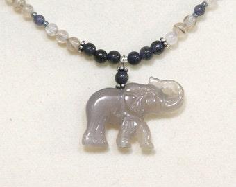 Elephant Gemstone Necklace in Iolite & Grey Agate