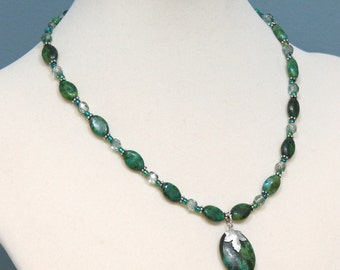 Green Australian Jasper Gemstone Necklace