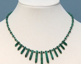 Malachite Fan Collar Necklace