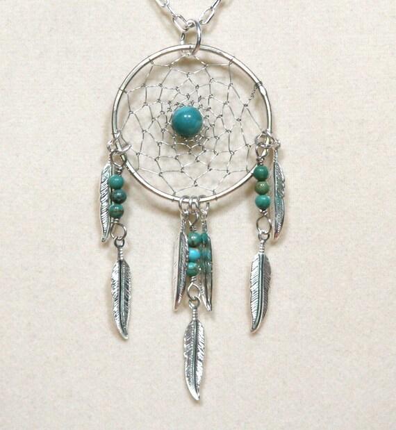 Dream Catcher Silver & Gemstone Dreamcatcher Necklace with Feathers Turquoise, Malachite, Lapis Lazuli, Jasper, Amethyst, Agate