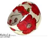 Paper mache bangle - Poppy, floral print
