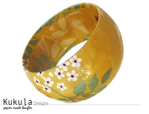Yellow mustard bangle -  Paper mache floral print