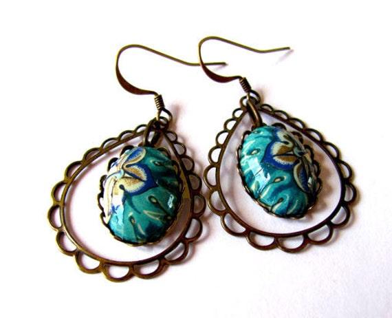 Paper&Brass Oriental Blue Drop Earrings